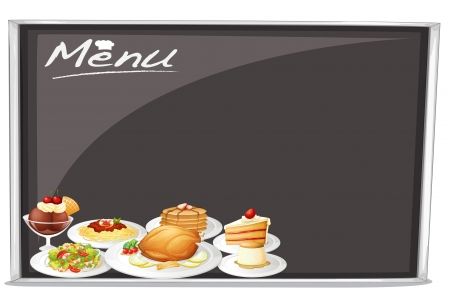 foodstuff: illustration of menu on black board on a white background Illustration