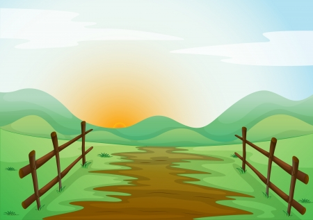 pastures: illustration of a landcape in a beautiful nature Illustration
