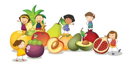 woman eat: ilustraci�n de los ni�os y las frutas sobre un fondo blanco