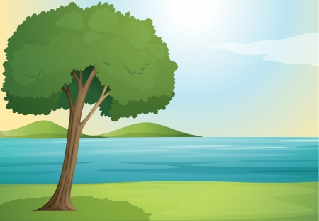 illustration of a tree and river in a beautiful nature Illustration