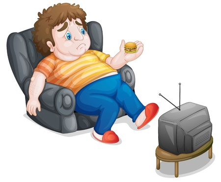 illustration of a man and television on a white background Vector