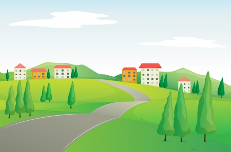 illustration of buildings and road in a beautiful nature Vector
