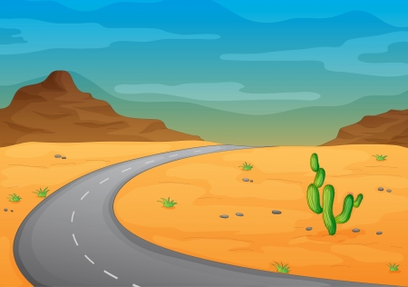 cactus desert: illustration of a road in a desert Illustration