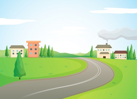rural scene: illustration of buildings and road in a beautiful nature Illustration