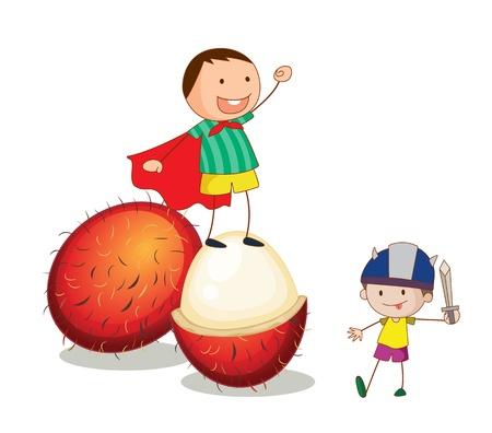 niños actuando: ilustración de los niños y las frutas sobre un fondo blanco