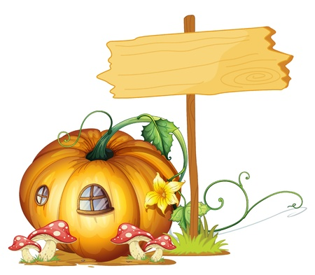 fairytale background: illustration of a board and pumpkin house on white Illustration