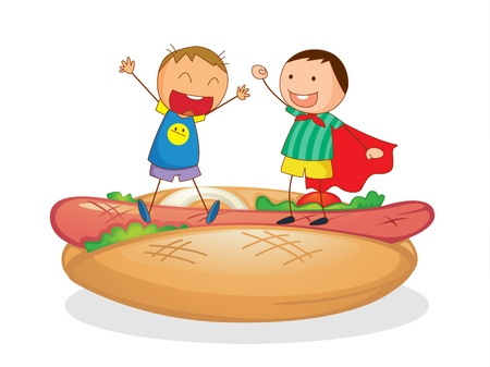 kids eating healthy: illustration of kids and sausages with bread on a white background