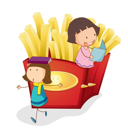 picture book: illustration of girls and french fries on a white background