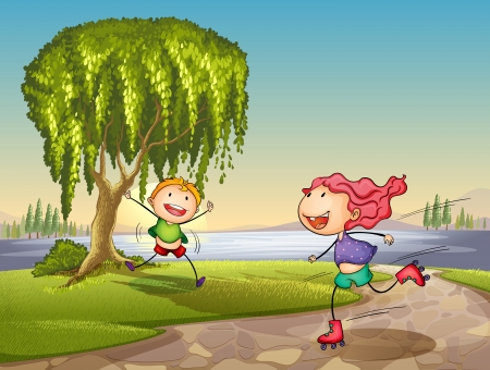 illustration of kids playing around tree in a nature