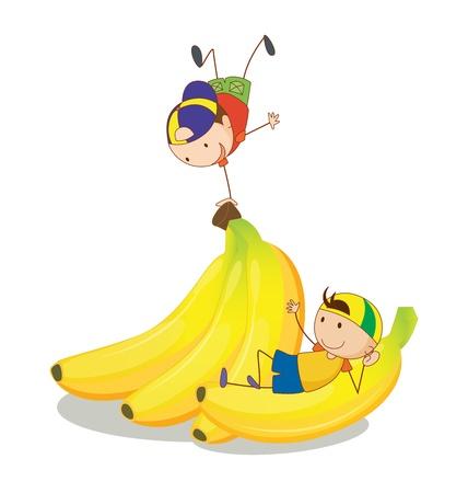 kid eat: illustrazione di bambini e banane su uno sfondo bianco Vettoriali