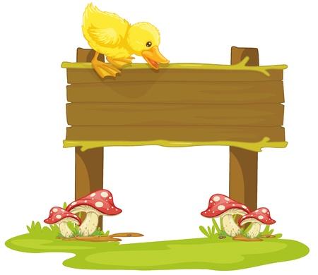 bebe a bordo: ilustraci�n de una tabla y un pato en blanco Vectores