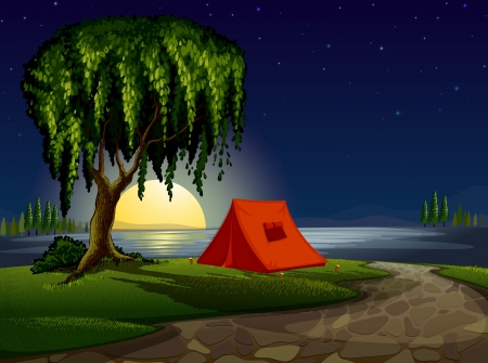 illustration of a tent house and stars in night sky Stock Vector - 15404102