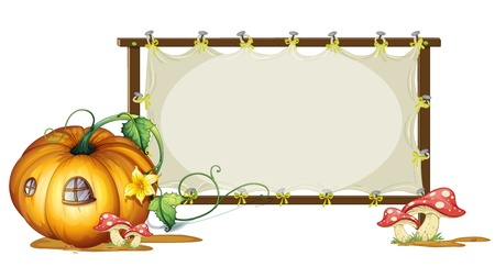 illustration of board and pumpkin board on a white Vector