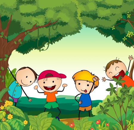 illustration of kids in a beautiful nature Stock Vector - 15404092