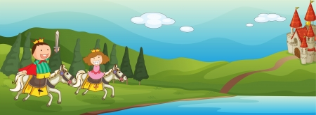 river water: illustration of a kids and horse in a beautiful nature Illustration