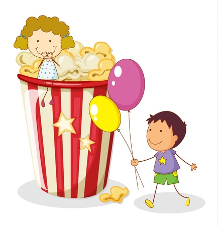 foodstuff: illustration of kids and popcorn on a white background Illustration