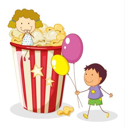 kids eating healthy: illustration of kids and popcorn on a white background Illustration