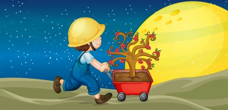 illustration of a boy and trolley with plant Vector