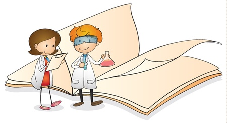 lab coats: illustration of kids and book on a white background Illustration