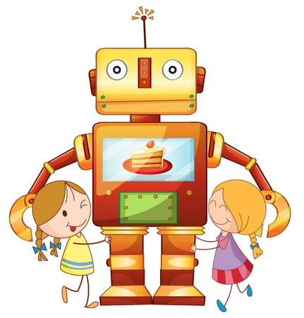 robot with shield: llustration of girls and robot on a white background