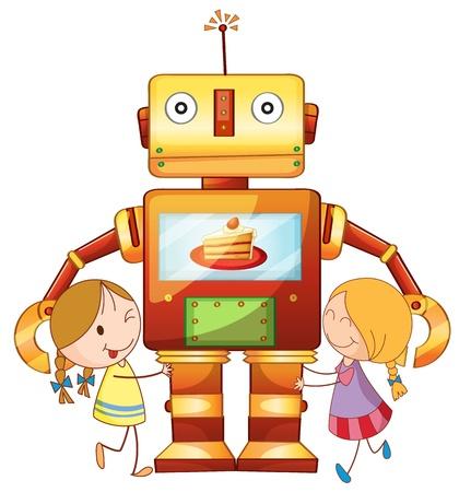 kumpel: llustration von M�dchen und Roboter auf einem wei�en Hintergrund