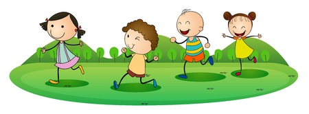young woman running: illustration of kids on a white background Illustration