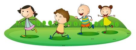 donna che corre: illustrazione dei bambini su uno sfondo bianco