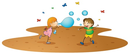 illustration of kids on a white background Vectores