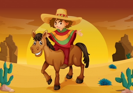 man and horse in a desert Vector