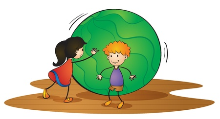 rolling landscape: illustration of kids and ball on a white background