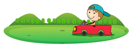 billy: illustration of boy and car in a white background Illustration