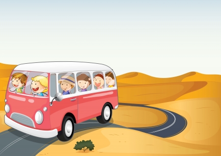 young woman running: illustration of bus in a desert