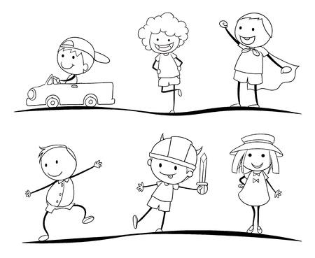 carro caricatura: ilustraci�n de una scetches de ni�os en un fondo blanco