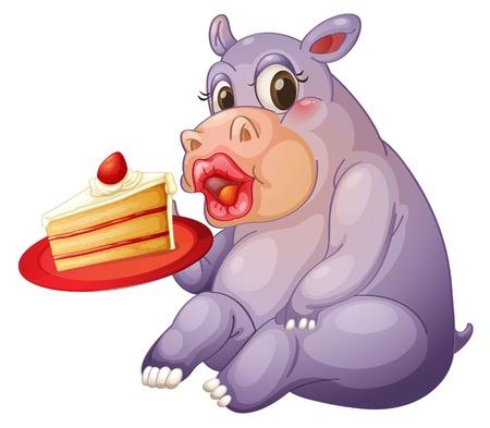 hippopotamus: ilustración de hipopótamo y pasteles en un fondo blanco