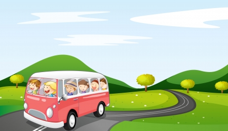 illustration of a bus and road in a beautiful nature Vector