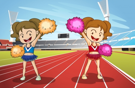 childrens: illustration of girls and race track in a stadium