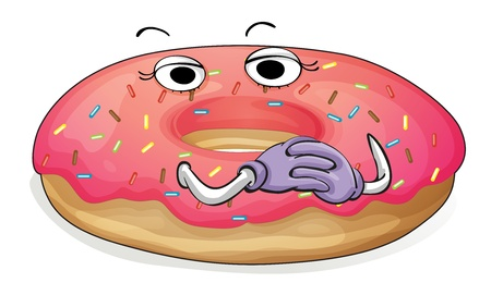 funny pictures: illustration of a donut in plate on a white background