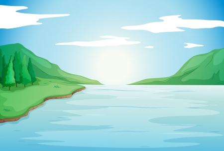 illustrazione del fiume in una natura bellissima