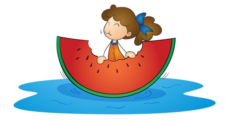 watermelon woman: illustration of a girl and watermelon on a white background Illustration