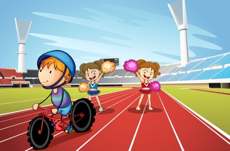cycle race: illustration of kids and race track in a stadium