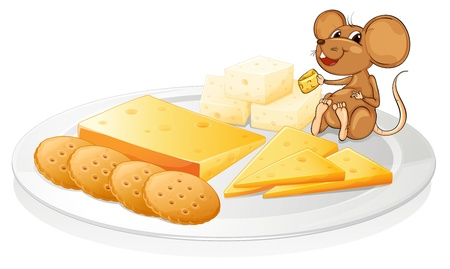illustration of a biscuits, cheese and mouse on a white background