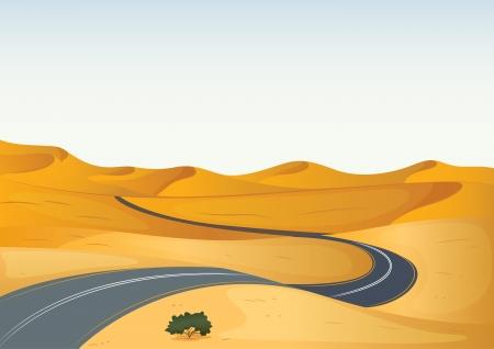 plantas del desierto: Ilustración detallada de un camino en un desierto seco