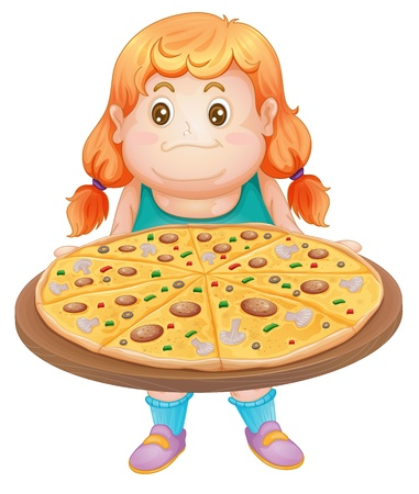vegetable fat: illustration of girl and pizza on a white background