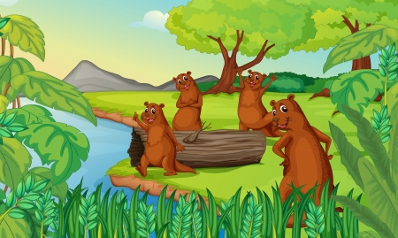 lake shore: illustration of otters in a beautiful nature