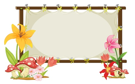 notices: illustration of board and flowers board on a white Illustration