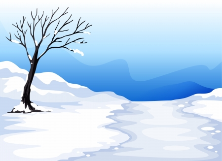 illustration of a landcape with ice in a beautiful nature Vector