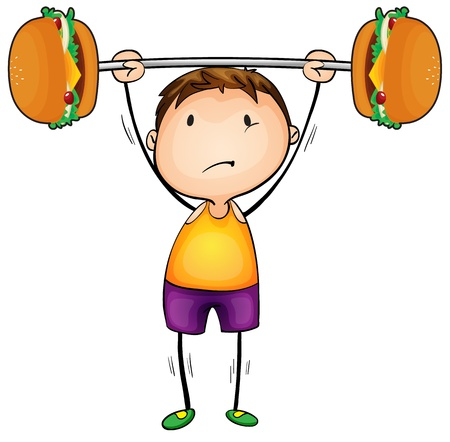 chutney: illustration of boy and excercise on a white background