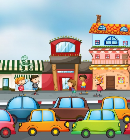 busy street: illustration of cars and kids on the road