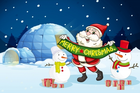 illustration of santa claus and gifts in night Vector