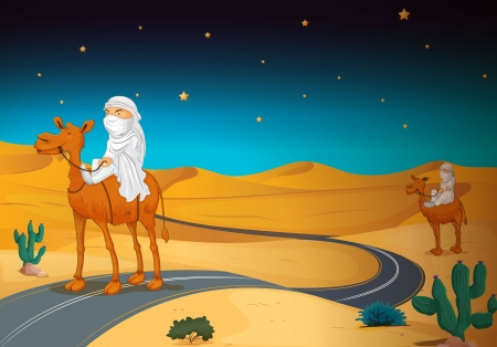 illustration of arabians riding on a camel in a desert Vector
